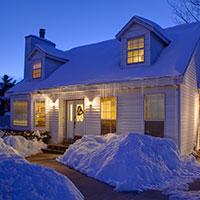 Winter night house